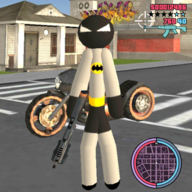 Stickman Bat Rope Hero Dark knight Crime  icon
